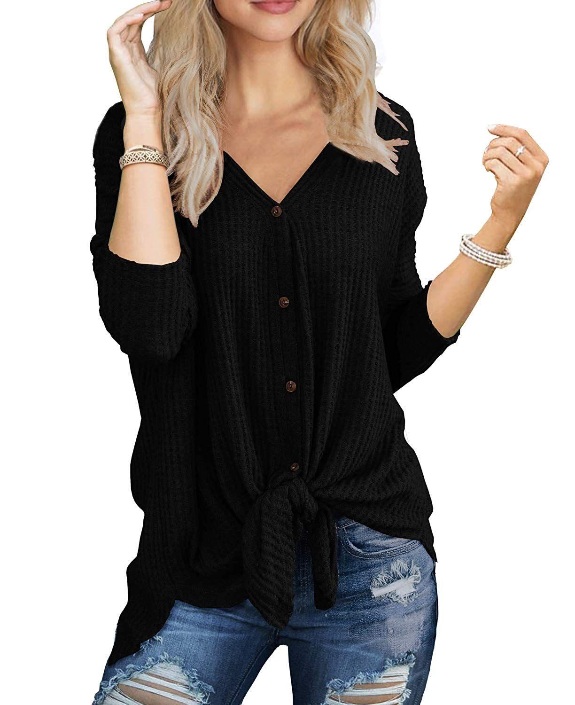 16b2d44cc4c IWOLLENCE Womens Waffle Knit Tunic Blouse Tie Knot Henley Tops Loose  Fitting Bat Wing Plain Shirts