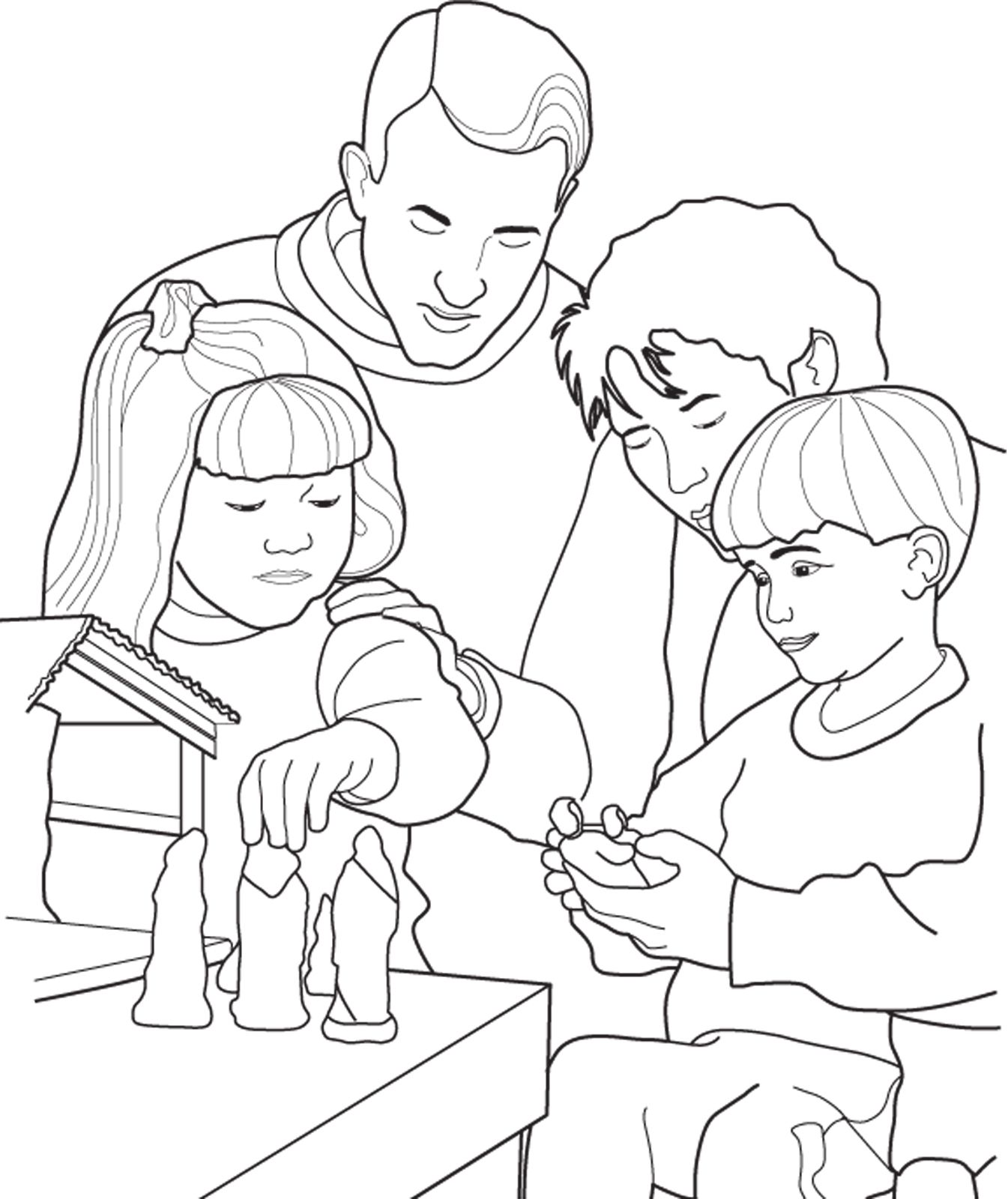 A family setting up their Nativity Scene for Christmas. A coloring ...