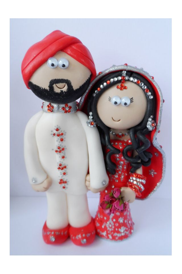 Indian Bride And Groom Wedding Cake Topper Personalised To Look Like You In Any Outfits
