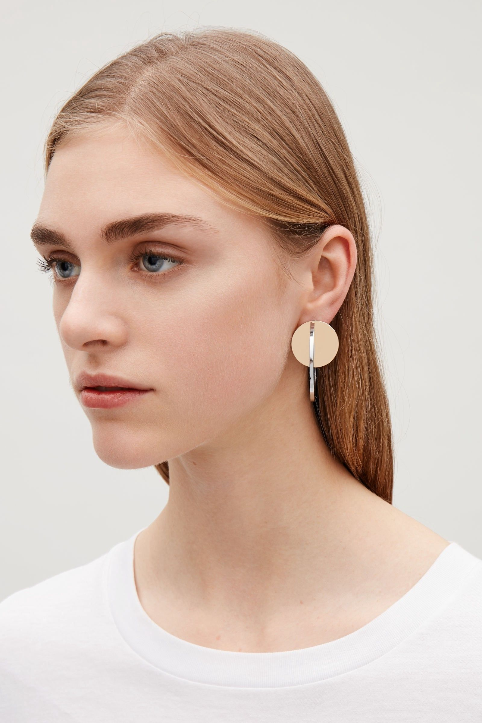 92c68d788 Cos Metal-Disc Hoop Earrings - Gold Onesize | Products in 2019 ...