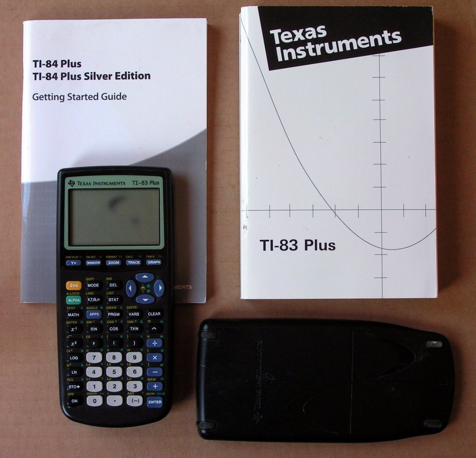 Texas Instruments Ti83 Plus Working Electronic Calculator & Books