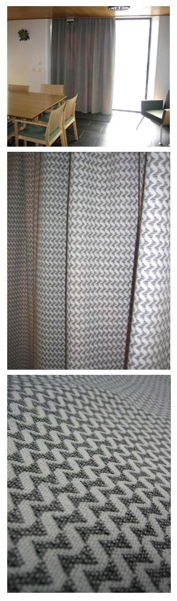 Hohka-verhot HAMKin K-talon takkakabinettiin, kaksi verhoa takkakabinetin/kokoushuoneen oven eteen tuomaan tunnelmaa ja lämpöä // Tilaaja/Client: HAMK // Suunnittelija/designer: Marika Viskari (kangas, verhot ) 2009 //  Yhteistyökumppani/Partner: Tekstiiliverstas