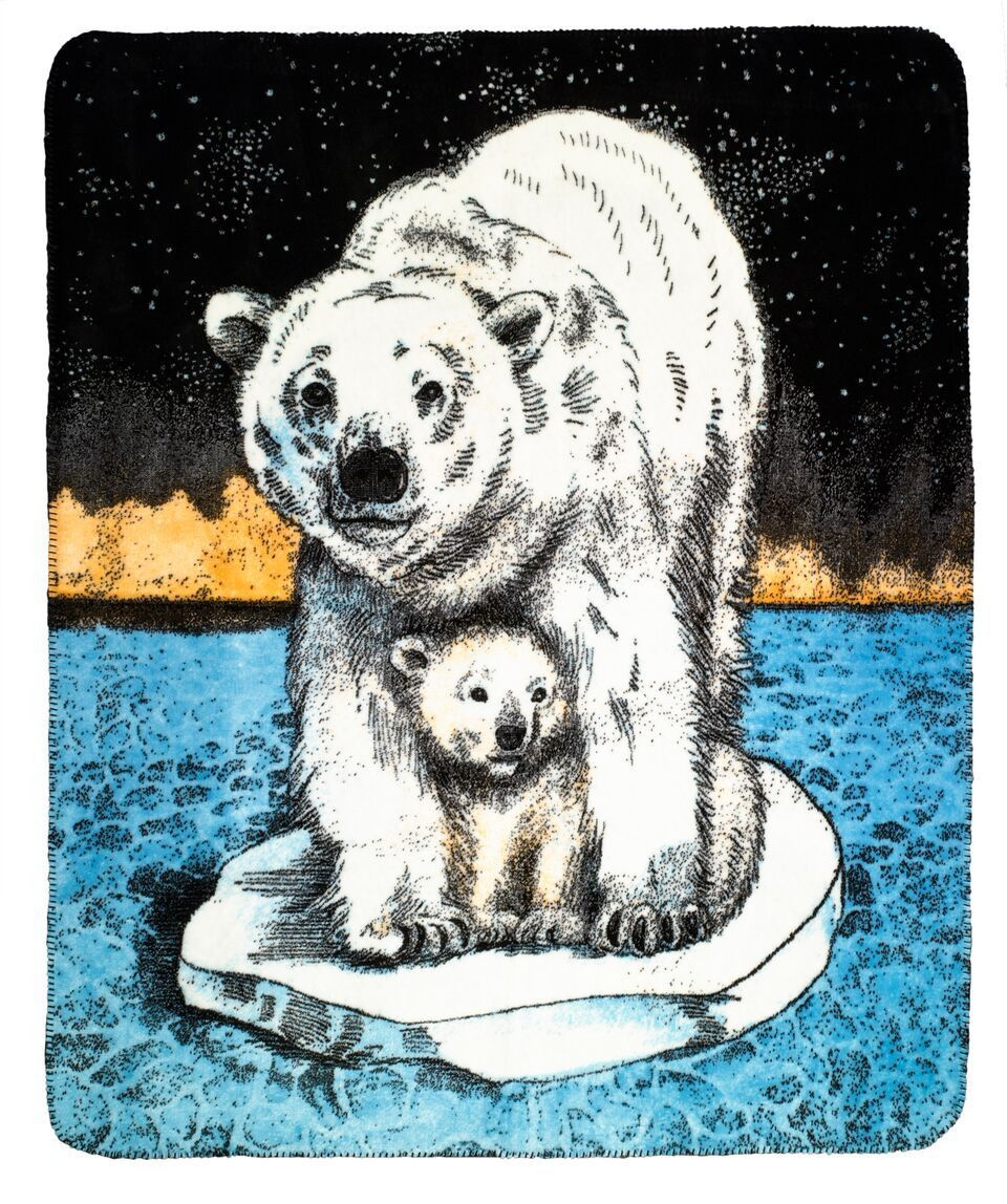 Polar Bear Mama and Baby MicroPlush® Hi-Tech Knitted Fabric Reversible Throw
