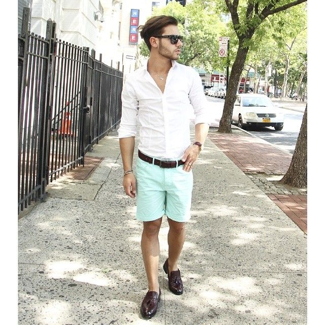Men's White Long Sleeve Shirt, Mint Shorts, Burgundy Leather ...