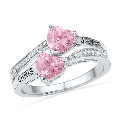 Zales 5.0mm Heart-Shaped Lab-Created Opal, Pink Sapphire and Diamond Accent Ring in Sterling Silver