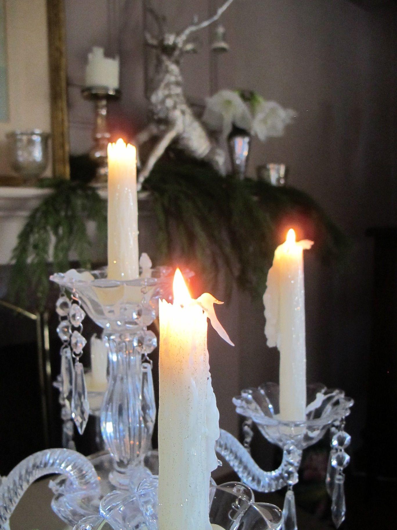 Candlelight on my Christmas mantel...