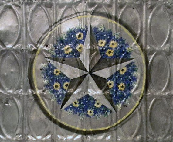 Lone Star And Wildflowers On Tin Ceiling Tile Decorate