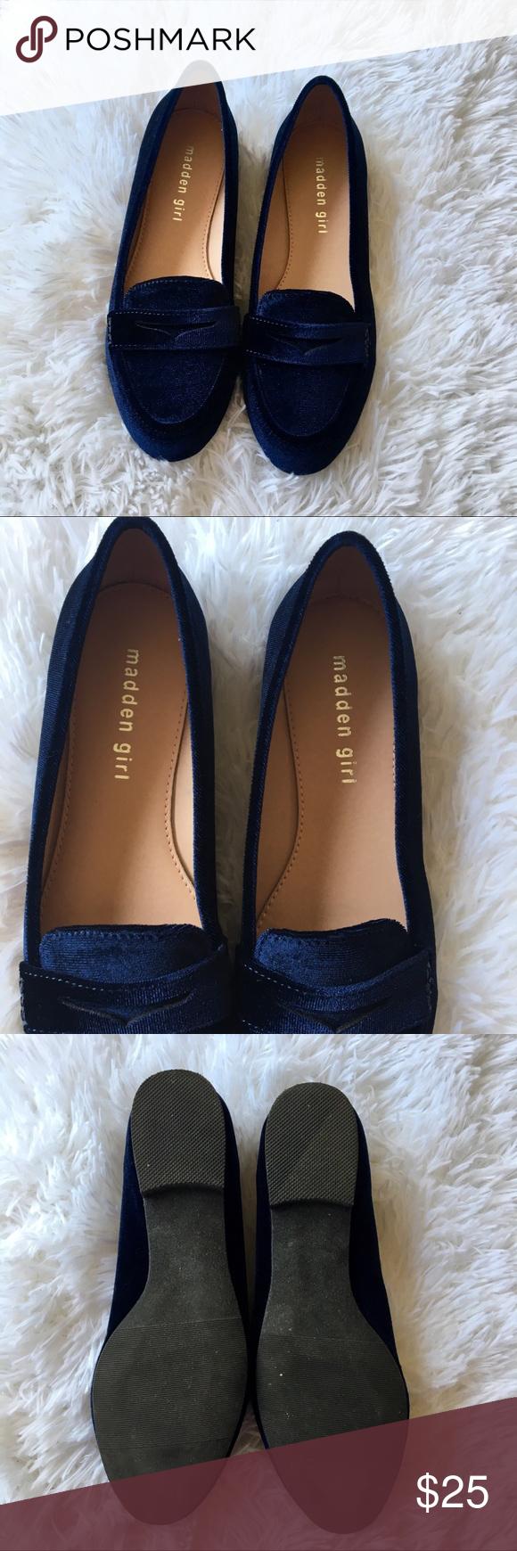 2b4b244fe702 Madden Girl Carmello Navy Velvet Flat Loafers Dark navy blue velvet shoes.  Penny loafers style