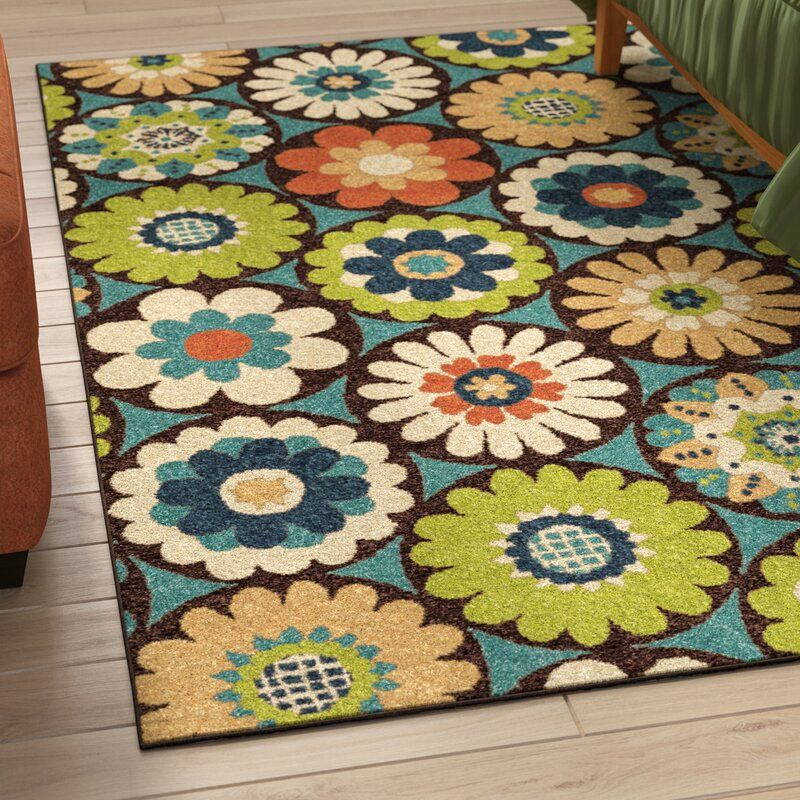 Loma Floral Flatweave Blue Green Brown Area Rug In 2020 Outdoor Area Rugs Bright Area Rug Area Rugs