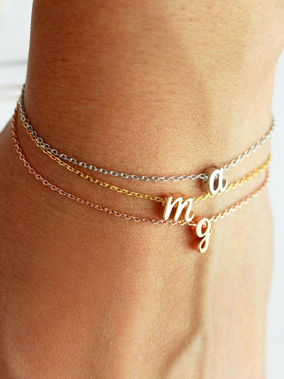 Cursive Initial Bracelet - Silver Gold or Rose Gold Letter Charm Bracelet  Chain Personalized Bridesmaid Gift Wedding Dainty Script 2f51716bb5b1