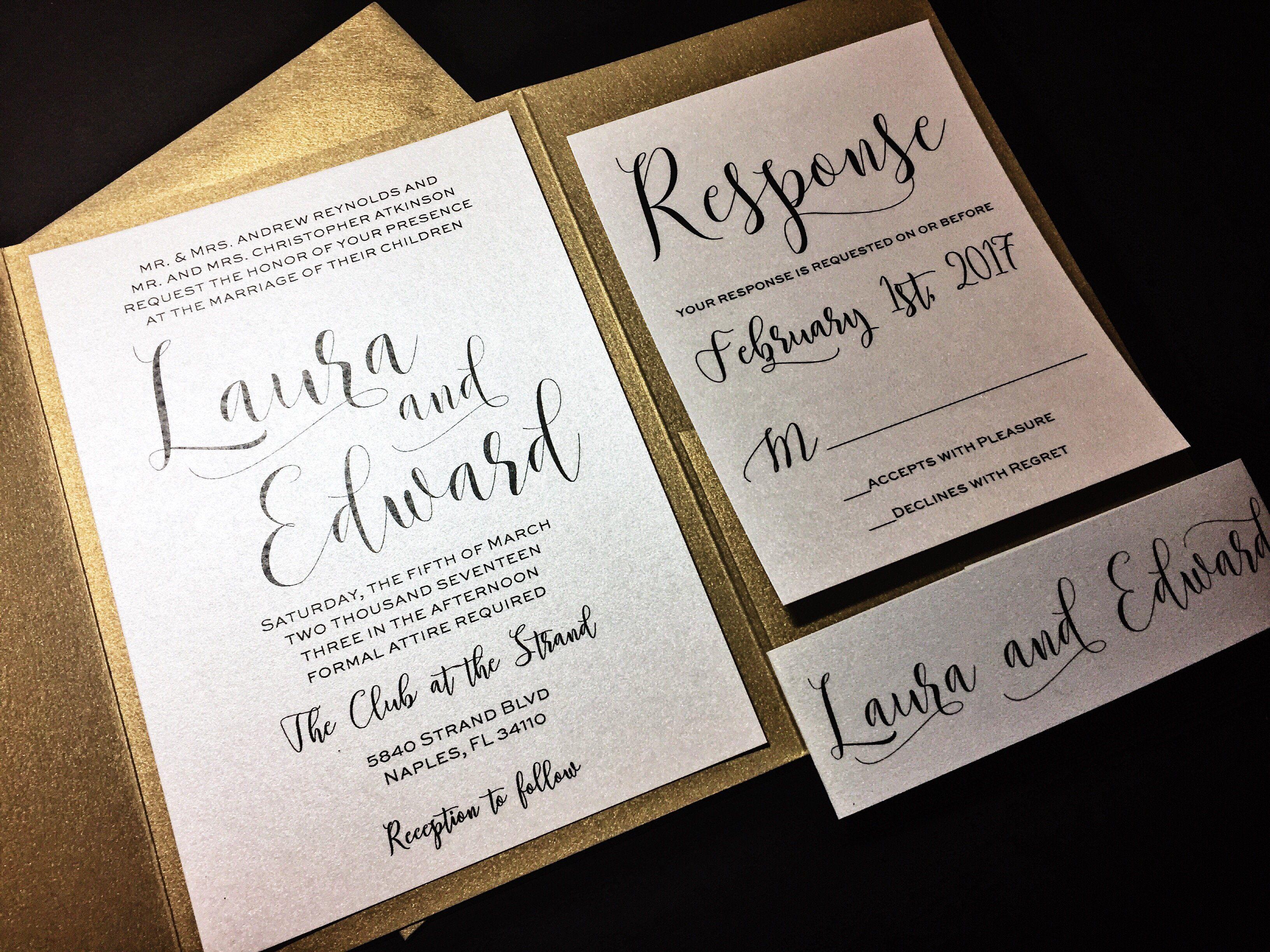 Modern Wedding Invitation Classic Wedding Invitation Pocketfold