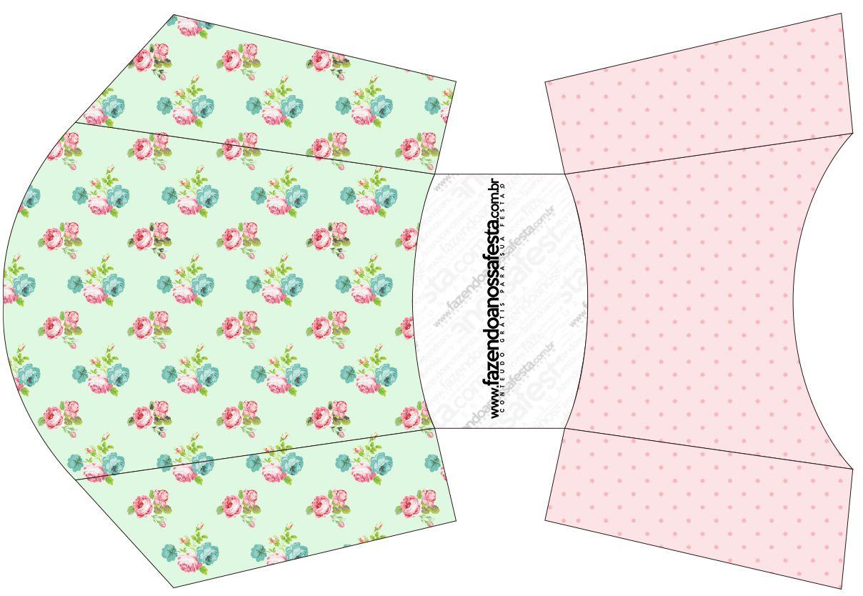 Envelope Fritas Floral Verde e Rosa