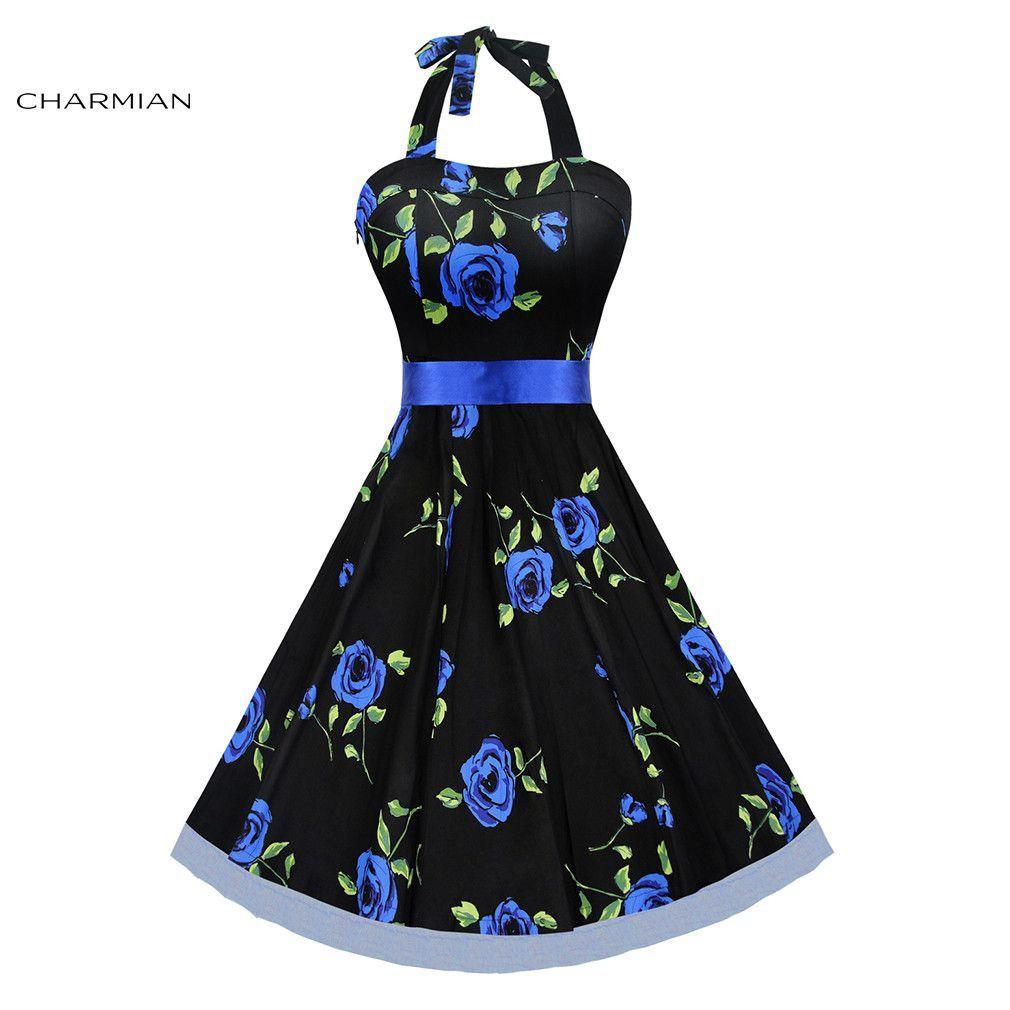 Buy charmian summer us vintage halter rose floral print dress