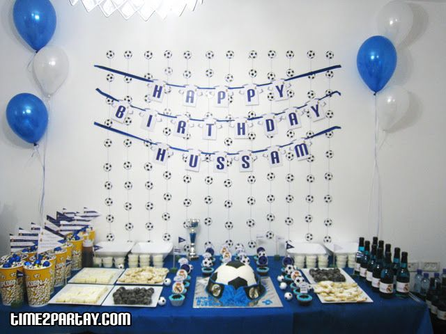 Real Madrid Soccer Themed Party Soccer Party Theme Birthday Blue White Real Madrid F With Images Football Birthday Party Soccer Birthday Parties Football Birthday