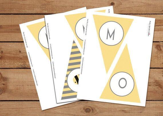 These mom-to-bee party banners are perfect addition to your bee themed baby shower!  -Each banner measures 5x7 and fits on 8.5x11 paper