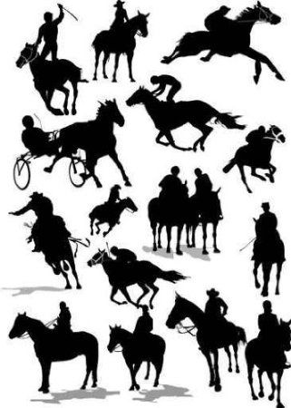 Amazon Com Sixteen Horse Racing Silhouettes Colored Vector