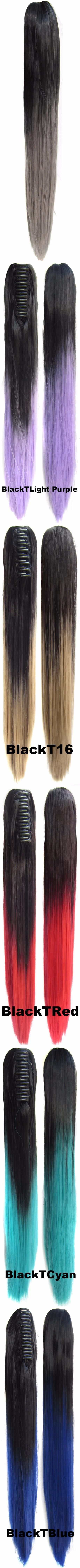 Qqxcaiw women long straight two tone black to red blonde ombre