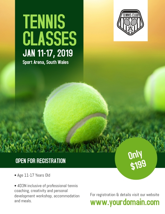 Tennis Classes Coaching Camp Flyer Poster Postermywall Flyer Tennis Sports Flyer