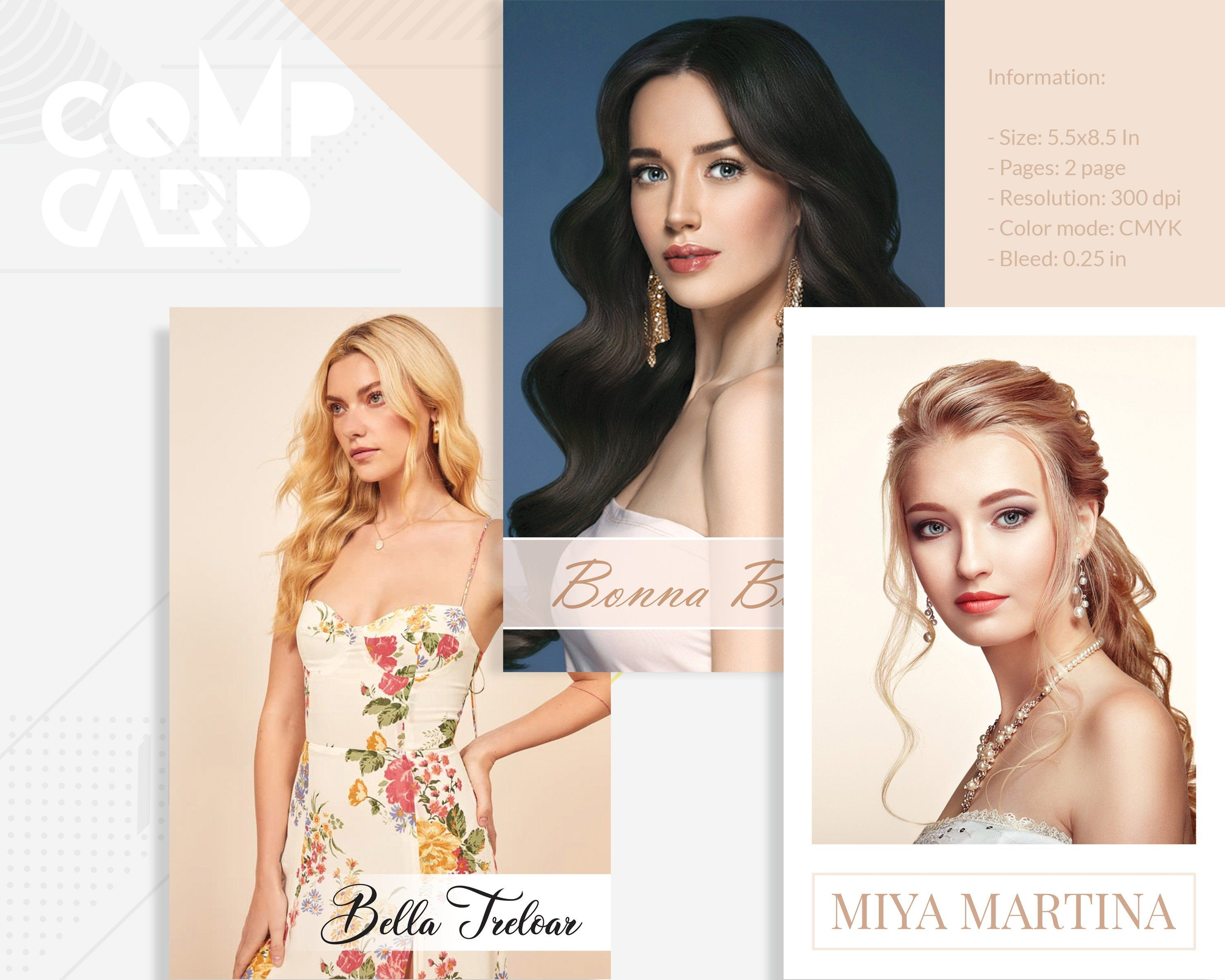 3 Modeling Comp Card Template Model Comp Card Photoshop Elements Ms Word T Model Comp Card Minimalist Business Cards Professional Business Cards Templates