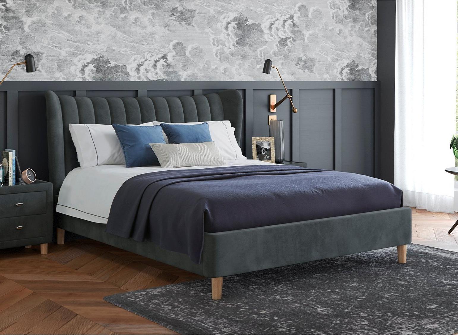Knox Velvet Finish Upholstered Bed Frame Upholstered Bed Frame