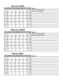 2019 three month calendar template | Quarterly calendar ...