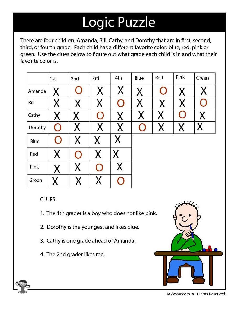 Hard Logic Puzzle for Kids ANSWERS Logic puzzles