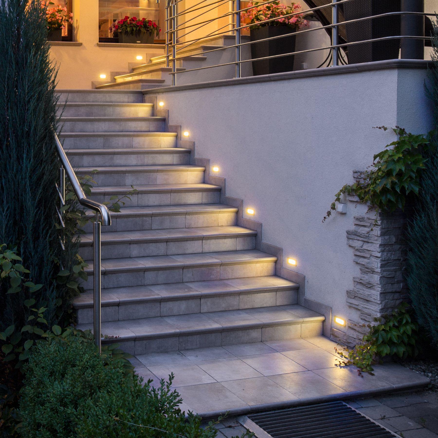 Piko S Led Wandeinbauleuchte Aussen Ip65 Treppenleuchte Edelstahl 230v Warmweisses Licht Treppenbeleuchtung Aussentreppe Treppe Aussen