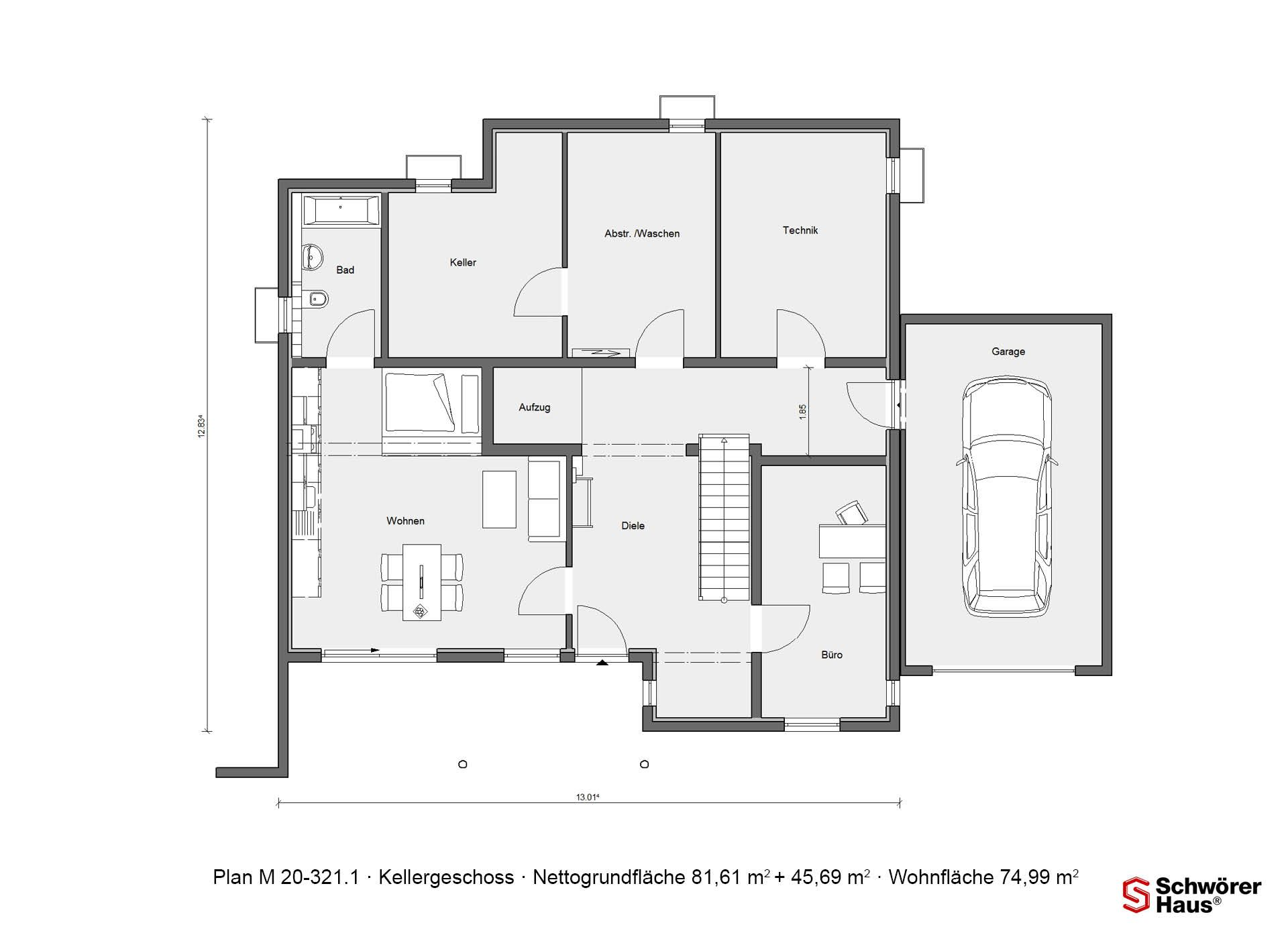 Grundriss Kellergeschoss M 20321.1 Fertighaus