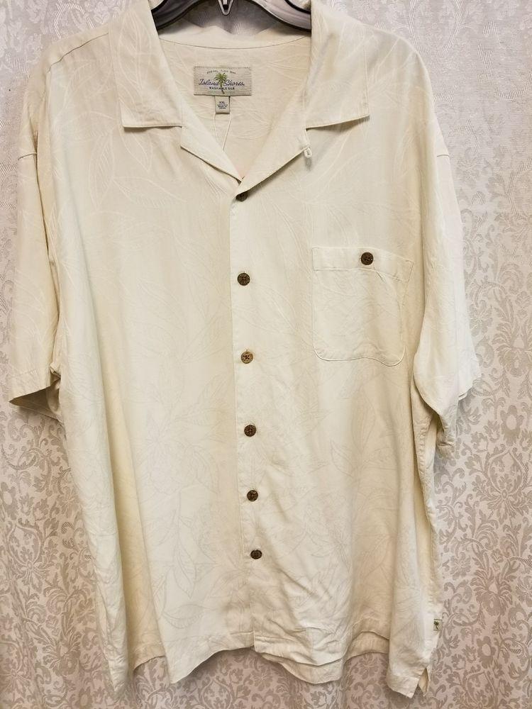 95b301de8a645 Island Shores Mens Washable 100% Silk Short Sleeve Ivory Shirt Size ...