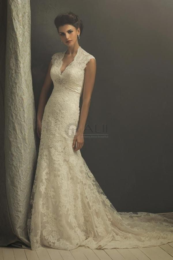Lace Overlay Vneck Long Wedding Dress