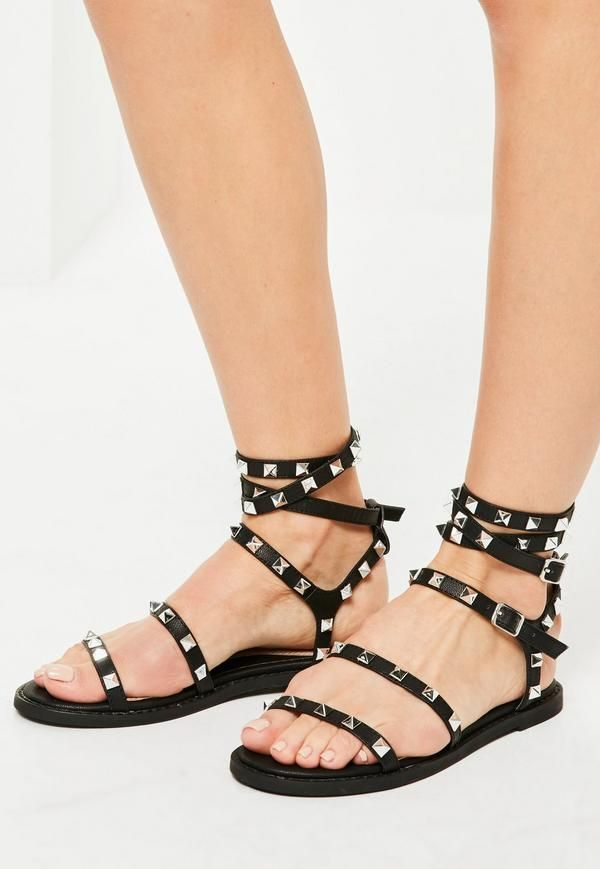 803385db3642 Black Studded Gladiator Sandals