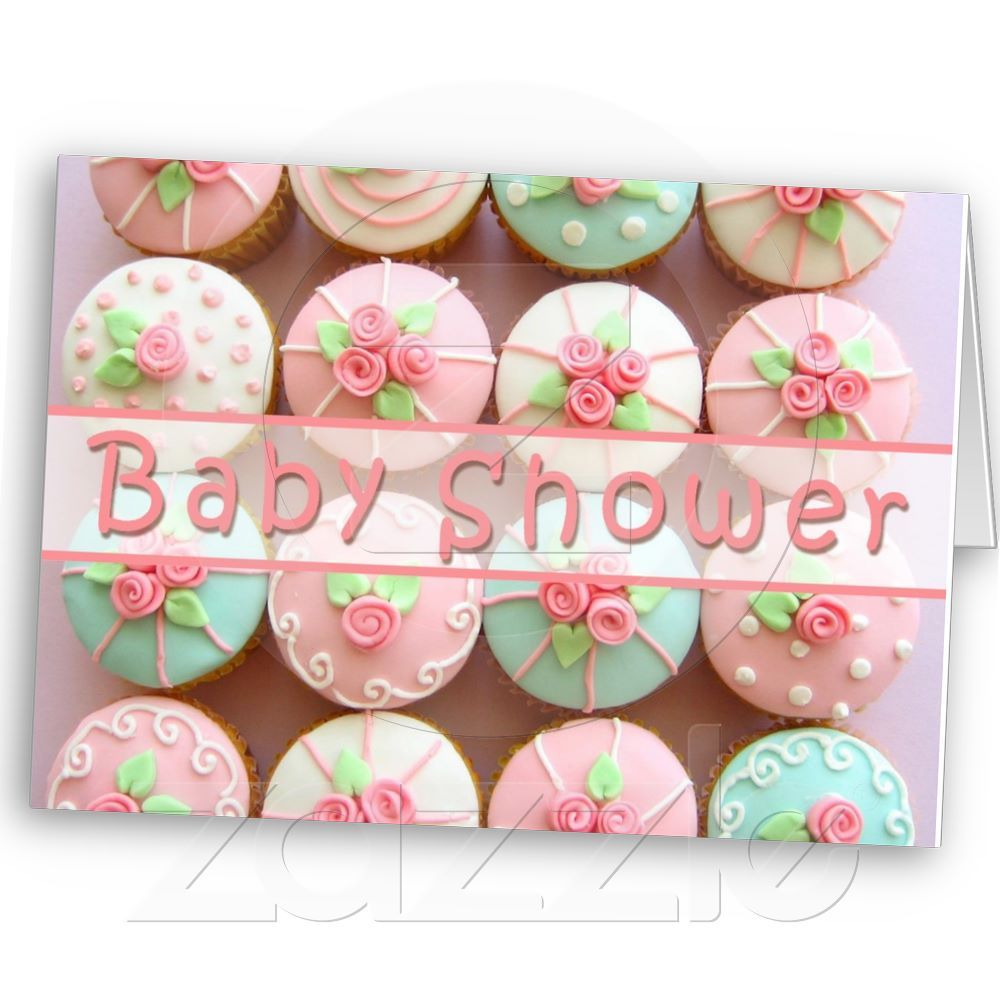 Baby shower cupcakes with pastel designs invitation
