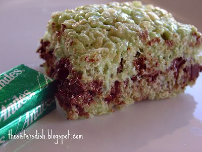 chocolate mint rice krispie treats