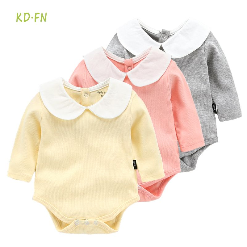 Barato 2017 Moda Bebê Roupas de Menina Infantil macacão Sólida boneca de  colarinho Branco de Manga a85a71a4076
