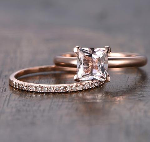 Princess Morganite Engagement Ring Sets Pave Diamond Wedding 14K Rose Gold 6.5mm