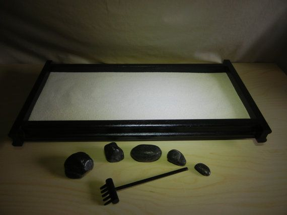 Large Desk Or Table Top Zen Garden Diy Kit By Critterswoodworks 40 00 From Etsy Also Has A Closeup Photo Of Squiggles D Zen Garden Diy Zen Garden Diy Garden