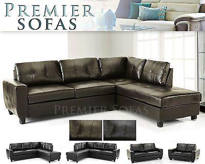 Brand New Westpoint Sofa Full Real Leather Corner In Brown Or Black