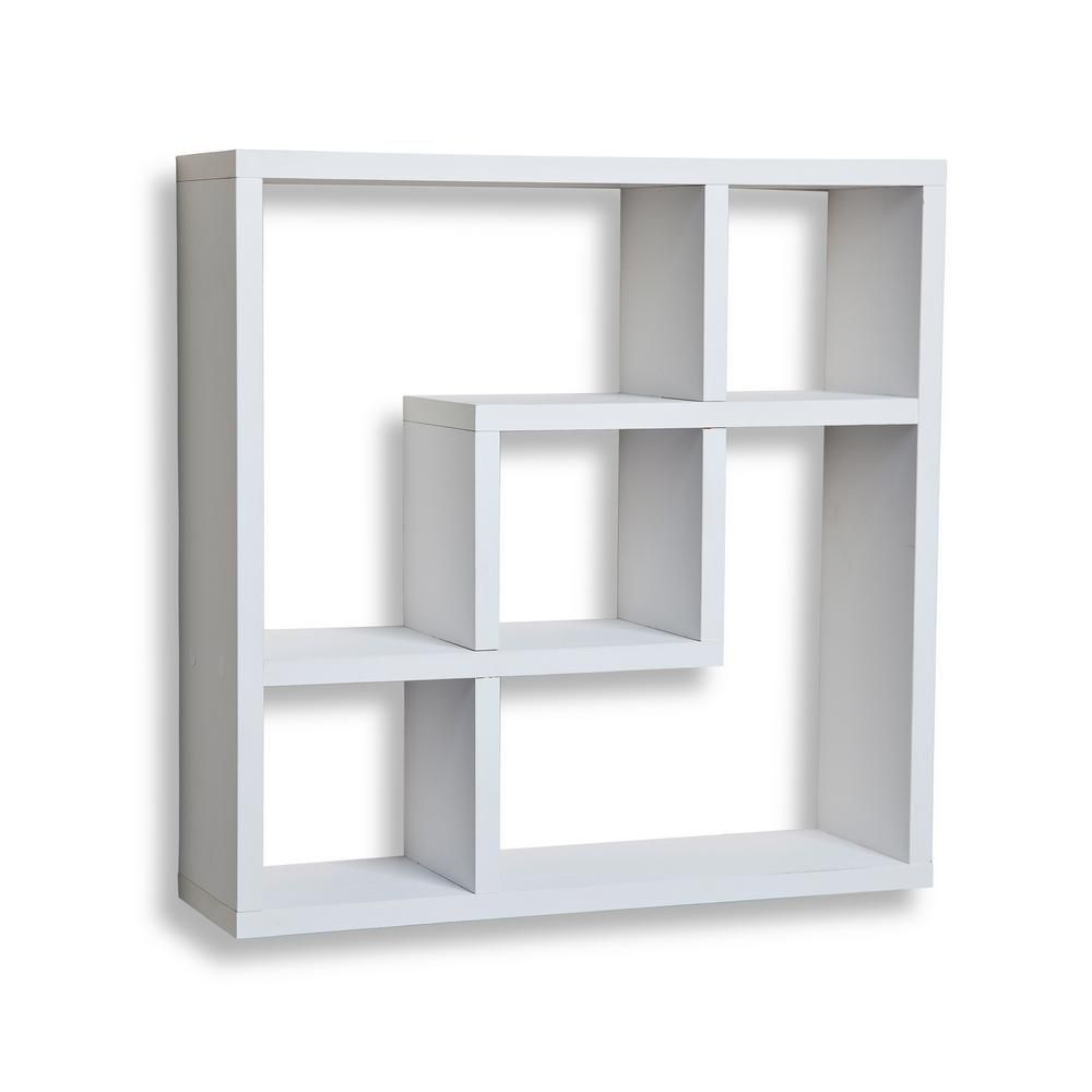 H White Mdf Geometric Square Wall Shelf With 5 Openings