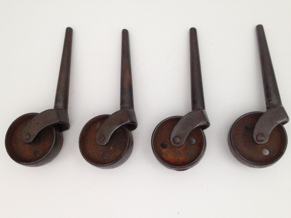 Caster Wheels Set Of 4 Antique Stem Casters 1 1 2 Inch Metal Cart Wheel Ebay Metal Cart Stem Casters Vintage Hardware