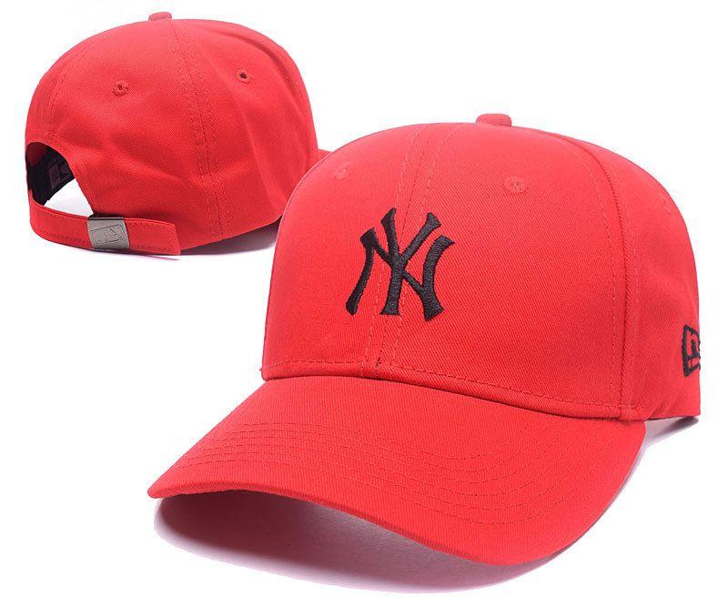 961259763cd Men s   Women s New York Yankees New Era Basic Team Logo Embroidery Adjustable  Baseball Hat - Red   Black