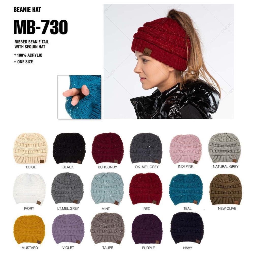 5cbf99b9e Wholesale C.C sequin messy bun beanie style MB-730. | C.C Beanies ...