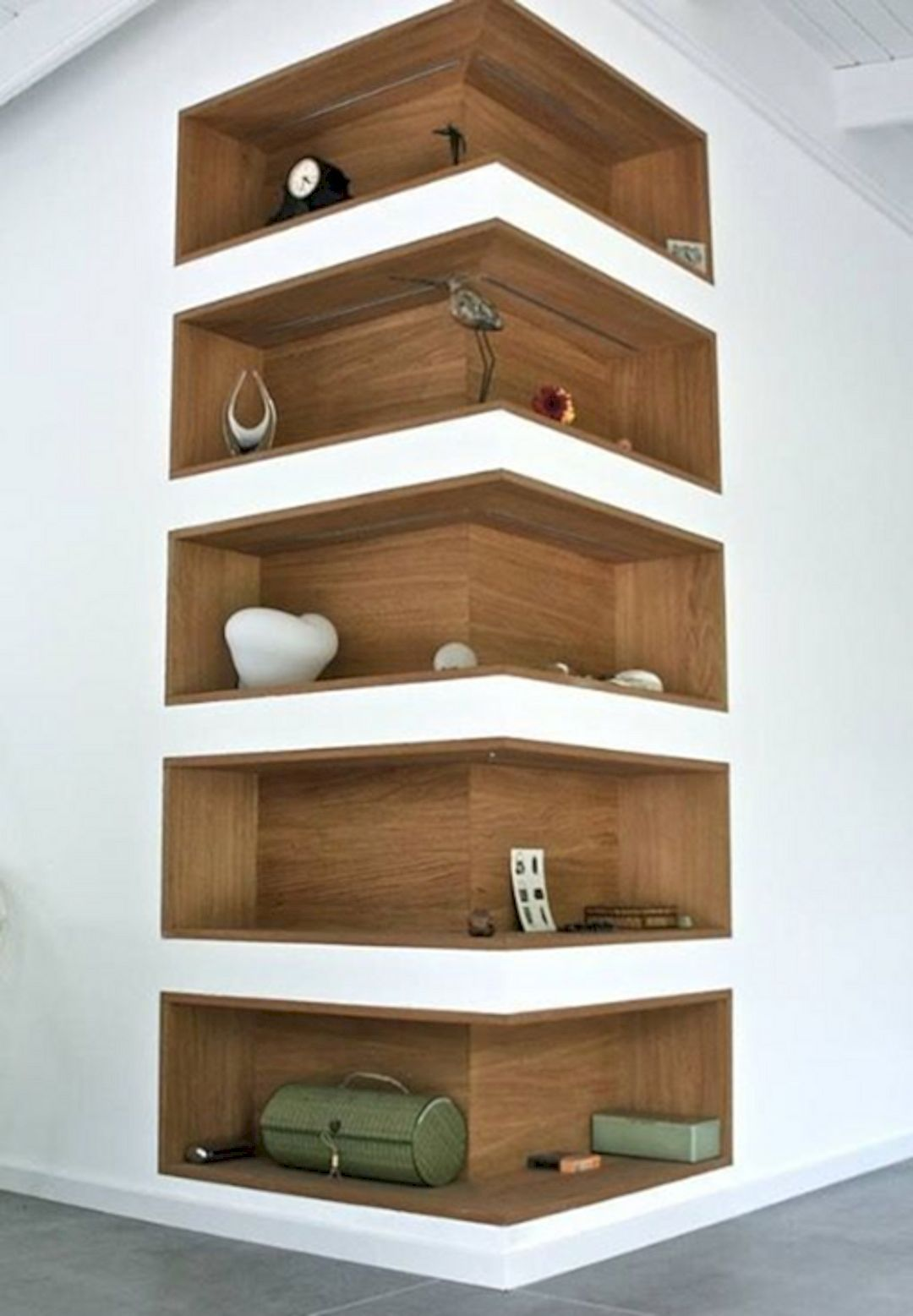 space saving corner shelf design ideas chambre cocooning. Black Bedroom Furniture Sets. Home Design Ideas
