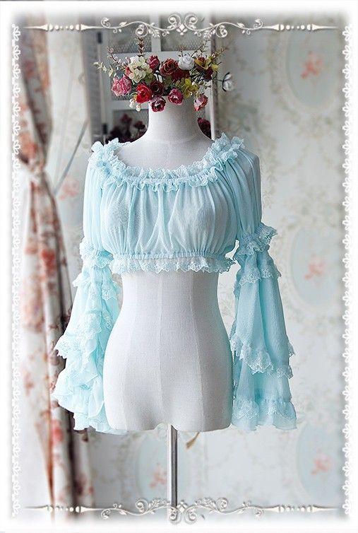 Infanta desmontable Set-Hime en gasa de las mangas de la blusa Lolita versión corta