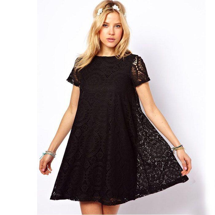 5 Colors Vestidos Femininos Woman Casual Dress 2015 Summer Short Sleeve O-Neck Plus Size Lace Dress