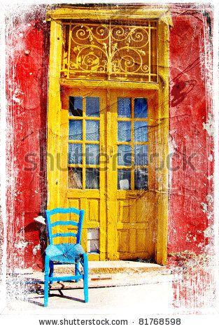 Paintings Of Doors Old Traditional Greek Doors Artwork