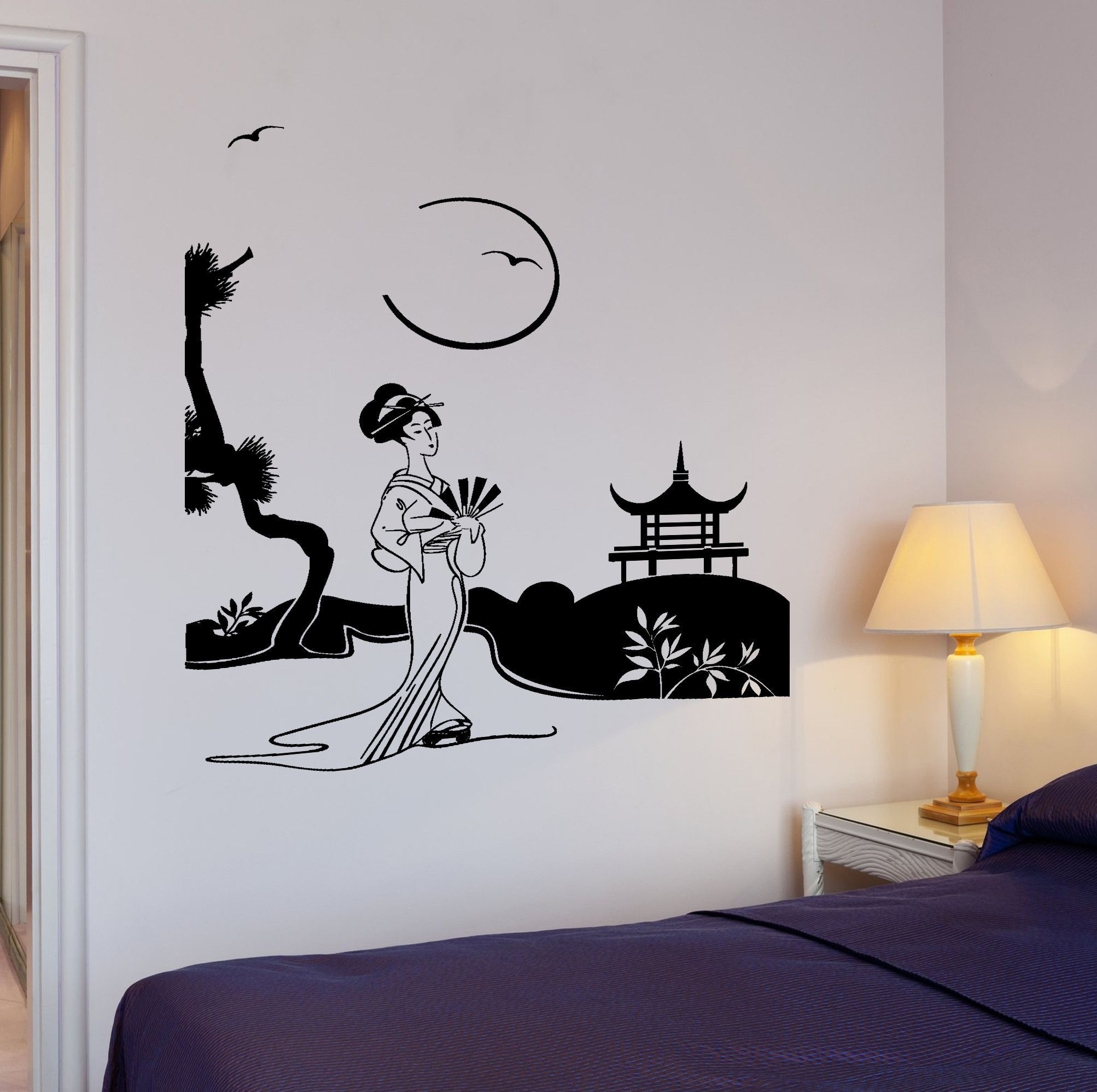 Wall Decal Geisha Japan Pagoda Japanese Views Decor Unique Gift - Japanese wall decals