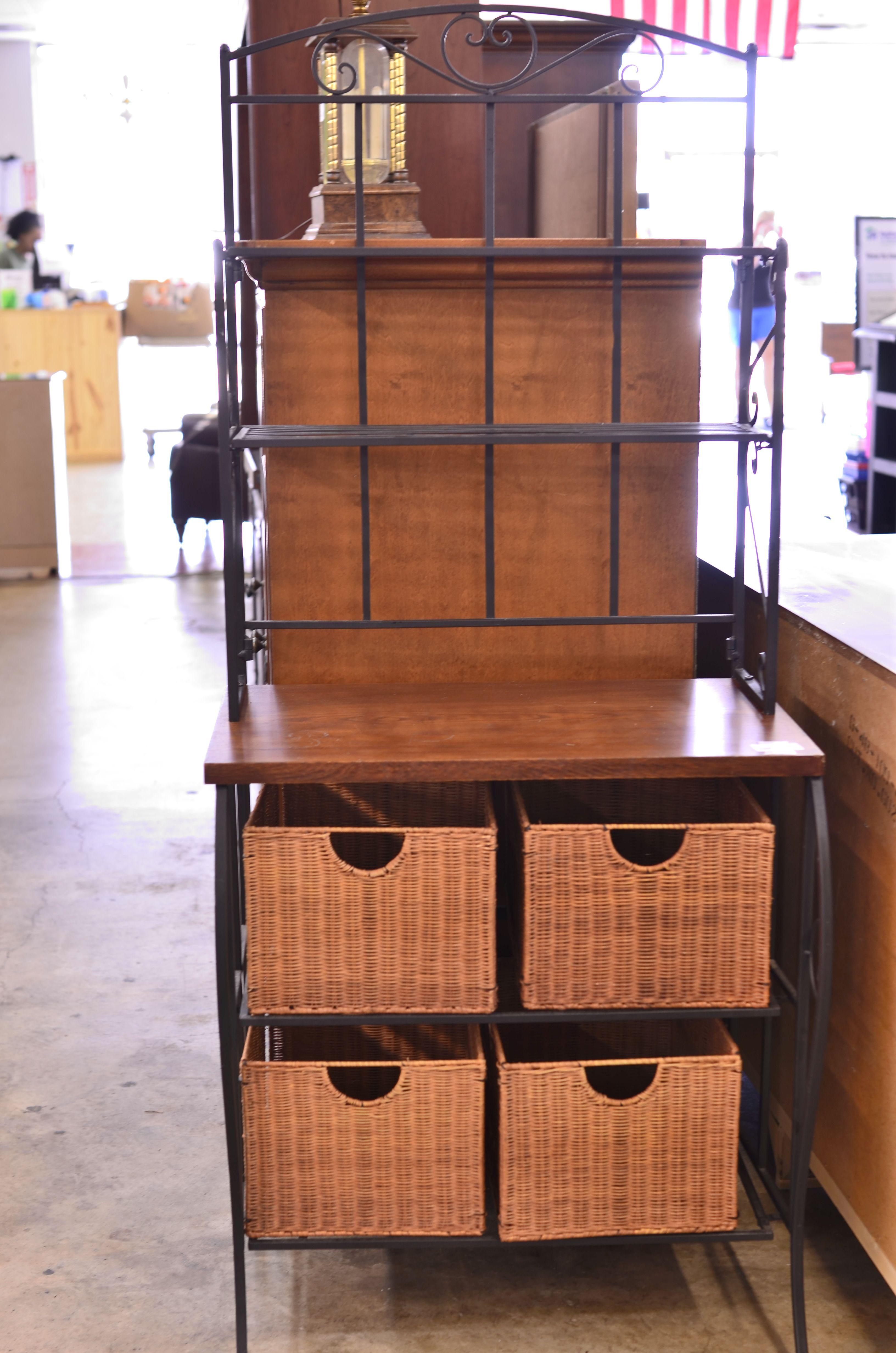 Bakers Rack W Storage Baskets 110 00 Bakers Rack Storage