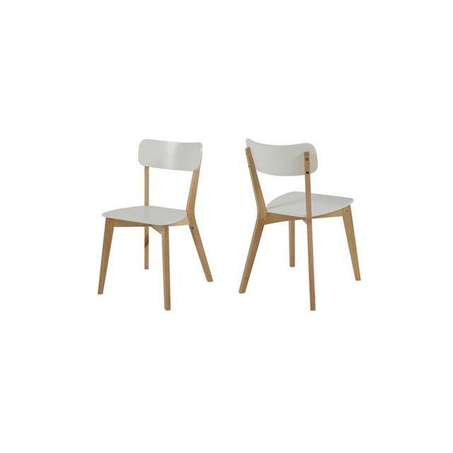 Chaise design bois et laqué blanc lot de 2 LAENA MILIBOO prix