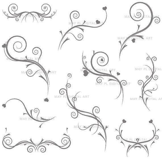 Vintage Flourish Clip Art GREY GRAY Swirls Clipart Decorative DIY ...
