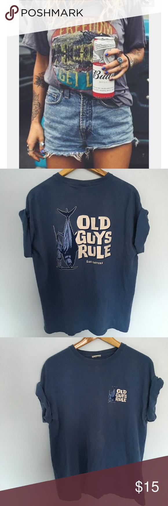 Vintage tee shirt Blue Steal the LK This shirt is on trend right now. Very tongue and cheek cute! No flaws. Perfect. XXL Tops Tees - Short Sleeve